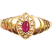 Vintage Marquise Ruby and Diamond 14K Ring Size 6.5