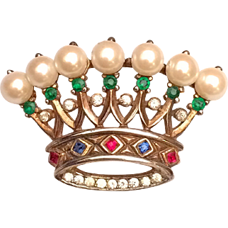 Trifari Crown Pin Brooch Simulated Pearls Rhinestones Gold Over Sterling