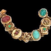 Slide Bracelet Simulated Jade Carnelian Turquoise, Scarab, Snake, Lion Gold Tone