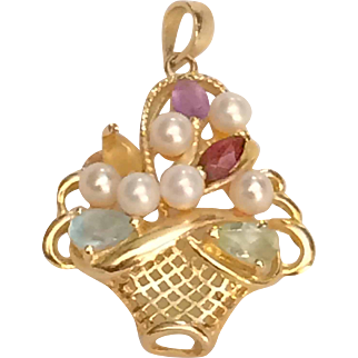 14K Gold Basket Pendant Semiprecious Stones 2.8 Grams