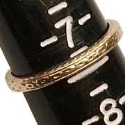 14K Edwardian Carved Yellow Gold Eternity Wedding Band Ring Size 7.25