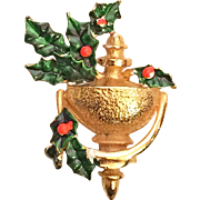 Elegant Hattie Carnegie Christmas Door Knocker Pin Brooch