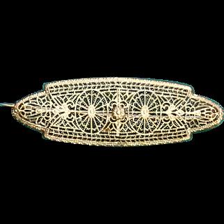 10K Art Deco Filigree White Gold Filigree Pin Brooch