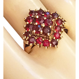 Victorian Bohemian Garnet Ring Gold Over Sterling Size 8