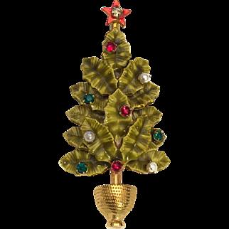 Christmas Tree Pin Signed Original by Robert Vintage Very Rare! Enamel Rhinestones Simulated Pearls Gold Tone