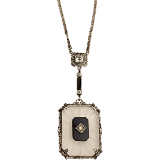 Art Deco Edwardian Camphor & Black Glass Sterling Silver Necklace Signed PS Co for Plainville Stock Company