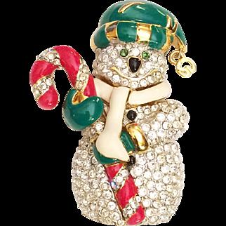 St John Signed Snowman Pin Brooch Rhinestone Enamel