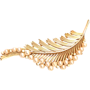 Trifari Feather Pin Brooch Simulated Pearls Gold Tone