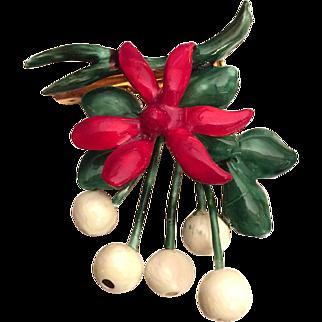Sandor Christmas Mistletoe Pin Brooch Green Red Enamel