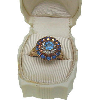 14K Rose Gold ring with Lotus motif and blue and white stones