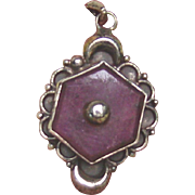 Silver and Ruby Crescent moon Medallion