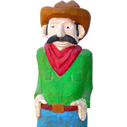 Cowboy Wood Carving, Folk Art, Figural, Painted, Hand Carved