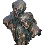 Rare Enduring Love Senior Couple Bronze by famous sculptor Stephen C LeBlanc, 8 of 50, signed,figural