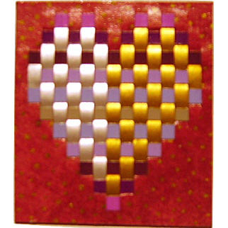 Artisan One of a Kind Woven Heart Brooch, signed and dated by artist