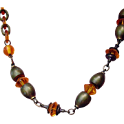 Vintage 1940s Citrine Glass and Brass necklace