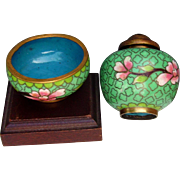 1900s Oriental  Asian Cloissone' Salt Cellar Pepper and Wooden Stand, Lovely Colors