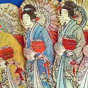 Colorful Oriental Paper Fan with Geishas and Umbrellas and Lacquered Bamboo