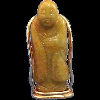 Tomb Jade Buddha 14K Gold Pendant, Rare, Netsuke, Asian