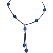Blue enamel on metal; crystal and blue glass beads; Art Deco era