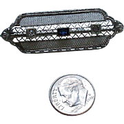 Edwardian costume brooch with sapphire and diamond pastes