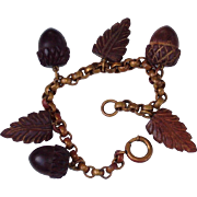 Vintage wooden carved leaves bracelet from the forties