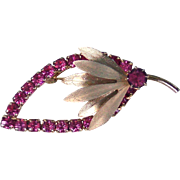 Retro pink rhinestone gold tone leaf brooch