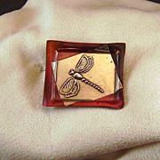 Dragonfly Copper Silver Pin/Brooch Artist signed