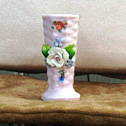 Germany Pink Elfinware vase with applied white rose and decals
