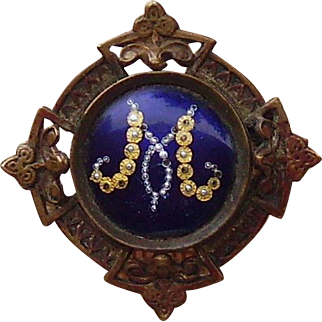 Antique GeorgianEnameled Initial M Brooch