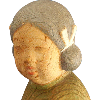 Oriental,Asian, probably Japanese Girl with Dog Carved Wood Sculpture, Signed