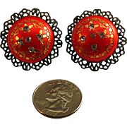 Fifties Red Clip Earrings with Brilliants and Decorations