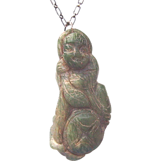 Carved Jade Asian Deity, god, Diety, Monk Pendant