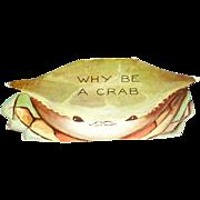 Crab Die Cut Valentine Unused - Red Tag Sale Item