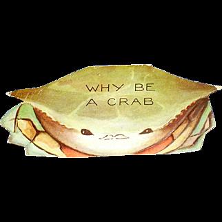 Crab Die Cut Valentine Unused