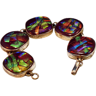 Dichroic glass  Bracelet with silver