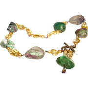 One of a Kind Artisan Fluorite Citrine and Pearl Necklace with Sterling silver heart toggle clasp