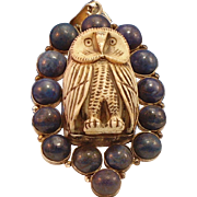Carved bone owl with lapis stone surround pendant, huge