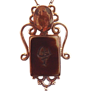 Lovely, large brown faceted topaz/quartz stone with kanji tile in 925 silver pendant