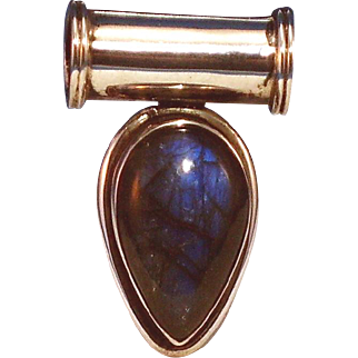 Classy, Large pear shaped Labradorite 925 Silver Pendant, never worn