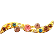 Czechslovakian Brooch with Spring Pastel Brilliants, marked