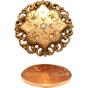 Art Nouveau style Petite Rose Gold filled Filigree brooch with Seed Pearl, marked