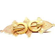 Victorian Stamped Rose Gold colored with Arrow Brooch