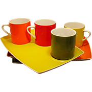 Melamine Colorful Luncheon plates with matching cups, Japan, never used; sixties  60's vintage