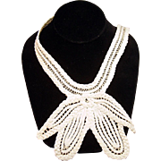 White crochet collar handmade decorative piece, vintage