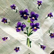 Vintage Embroidered Pansy Pansies or Violets Hankie