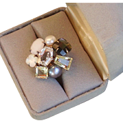 Multi Semi-precious stone ring marked 925 and Heidi Klum