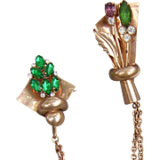 1940's 1950's Flower pots chain and Rhinestones brooch pin