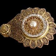 Costume Filigree pearl and rhinestone dress clip vintage