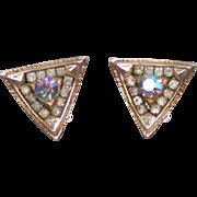 Aurora Borealis AB Rhinestone Triangle Costume Clip Earrings