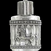 Carousel Horse - vintage Perfume Bottle - Jonette - Clear Glass pewter JJ